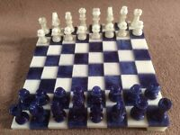 Alabaster Stone Chess Set with Unique Staggered Board - PERFECT XMAS GIFT!