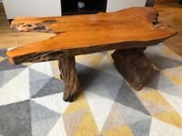 Solid wood coffee table with 2 smaller side table