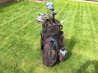 Golf clubs full set of Wilson irons, woods, putter & bag