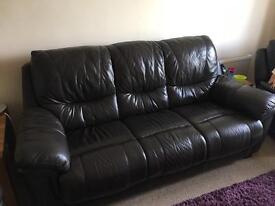 Brown leather 3 seater, 1 chair and 1 reclining chair