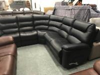 High retail black leather manual reclining corner suite