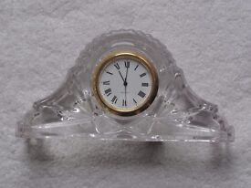 Lead Crystal Miniature Clock. Excellent condition. Needs battery & in excellent condition