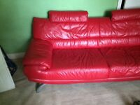 Red leather sofa Great condition Bargain!!!!