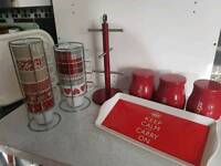 Red kitchen accessories (as new condition )