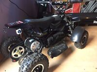Quad, 1 year old. Used twice. With helmet, body armour, charger and tool kit.