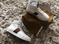 Gucci Men's White High Top Leather Uk Size 8 - Brand New
