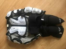 Fox Mountain biking body armour with pair of knee pads