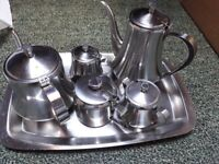 Stainless steel coffee / tea set with trays