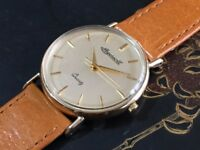 Vintage solid 9k 9ct 375 gold Ingersoll mens watch