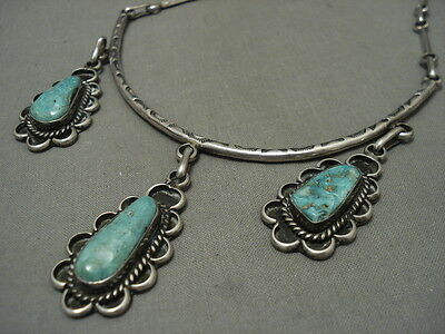 FABULOUS VINTAGE NAVAJO '3 TIER TURQUOISE' SILVER FLOWER NECKLACE OLD