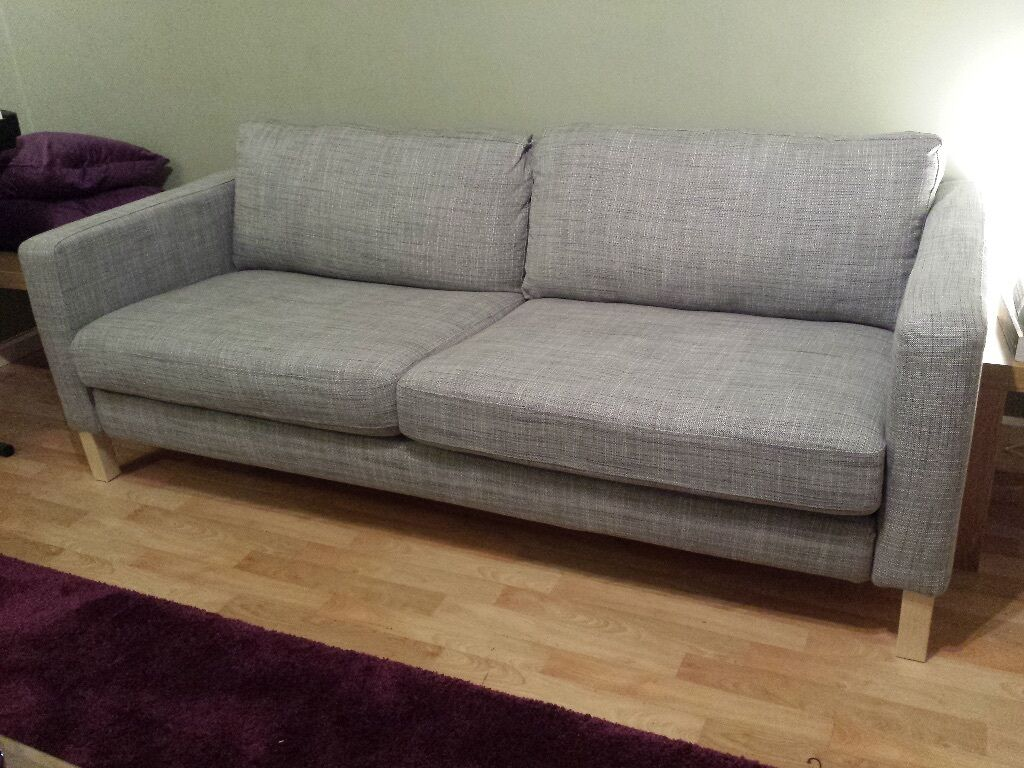 Ikea karlstad 3 seat sofa isunda grey fabric in for Ikea gray sofa