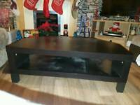 Wooden coffee table and matching tv stand