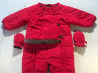 Child's red body suit J Lewis 3/6 months,57cm long,62/68 chest,raglan L sleeves.