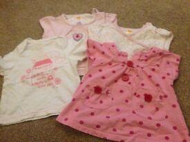 4 x girls short sleeve tops. 3-6 months