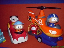 SHELCORE helicopter and car and bath toy truck