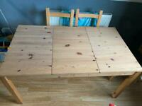 Large pine wooden dining table
