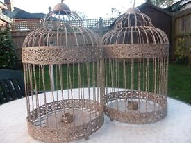 Sparkly silver decorative bird cages ideal Christmas decorations