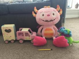 Soft toys and ELC wooden car and horse box