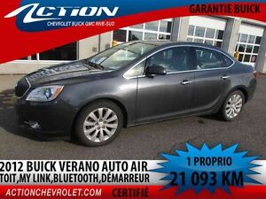 2012 BUICK VERANO SEDAN CX,TOIT,AUTO,MY LINK,BLUETOOTH
