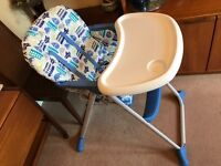Mothercare blue and white high chair