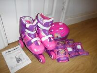 Dunlop Sport Princess Adjustable Pink Tri To Inline Skates & Helmet Set Size 3-6 New RRP £49.99