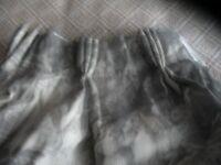 Paire of lined Renaissance Toile design pencil pleat grey curtains