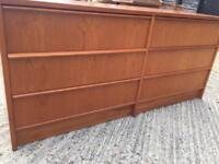Vintage retro teak wooden large mid century Danish G Plan chest of drawers sideboard TV cabinet