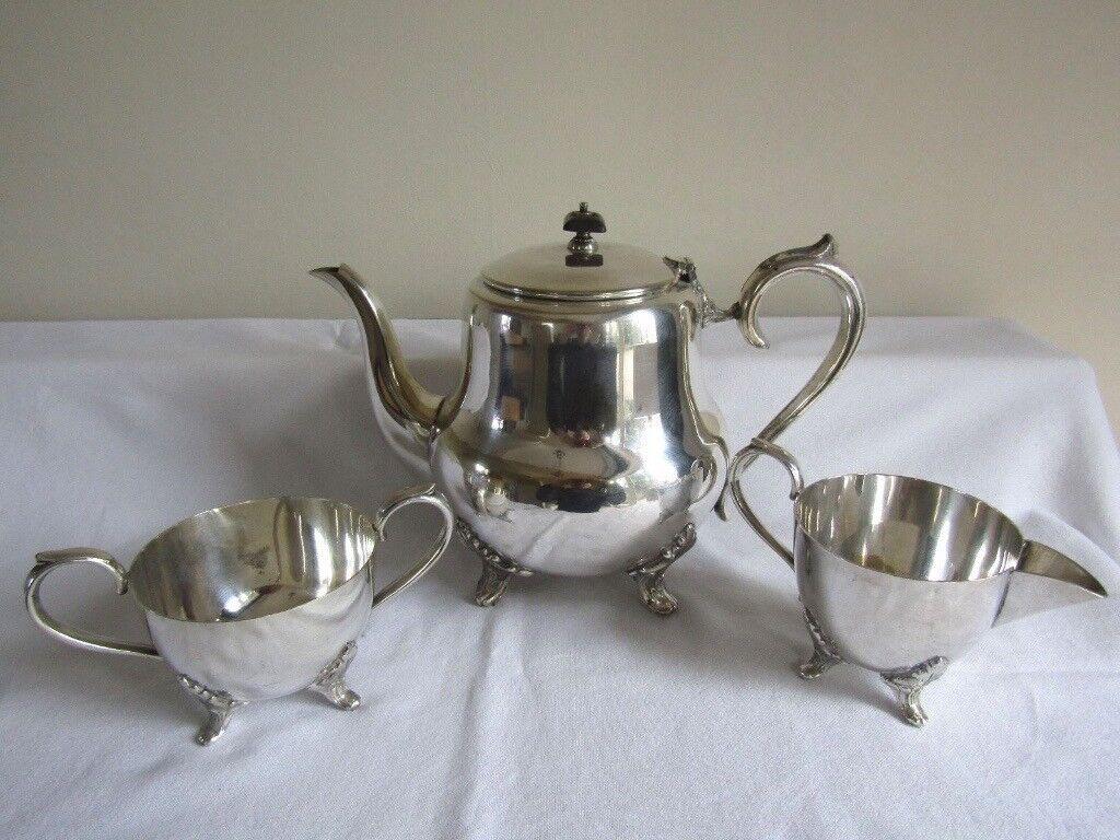 Antique Silver Plate 3 Piece Tea Set - Teapot - Viners - Sheffield