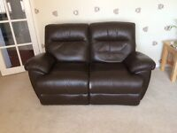 dark brown leather reclining sofa