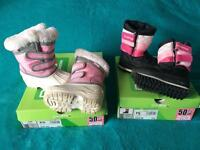 2 pairs of Infant Girls fleece lined snow boots