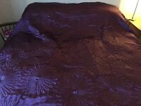 Double Bedspread Rich Purple Satin Polyester + Pillow Shams
