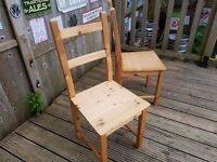 Ikea solid pine Wooden chairs . Look great painted