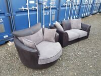 Sofa & swivel cuddle chair... Can deliver