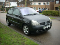 2003 03 REG RENAULT CLIO DYNAMIQUE 1.2 16V 3 DOOR HATCH BLACK ONLY 72000 MILES IDEAL 1ST CAR