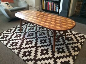 Beautiful Vintage Wooden Coffee Table. Mid-Century, Retro.