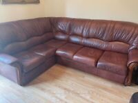Leather corner sofa bed with storage