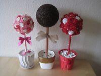 Handmade decorated flowers tree and coffee tree