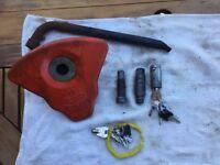 Alko wheel lock, plate, lock & two barrel keys.