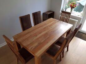 John Lewis Batamba Solid Wood Table & 6 Suede/Wood Chairs