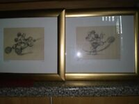 Mickey and minnie mouse framed pictures