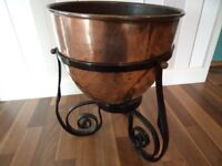 Antique Hand Forged Wrought Iron Stand with solid brass balls and beaten copper bowl