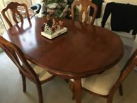 Extending Christmas dining table & 4 chairs