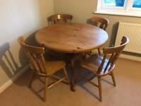 Solid pine round table and four chairs