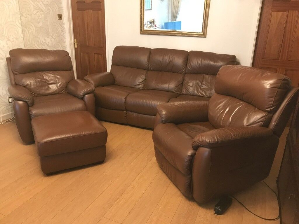 Remarkable Reclining Leather Three Piece Suite Two Arm Chairs And Ottoman All In Very Good Condition In Llantwit Fardre Rhondda Cynon Taf Gumtree Squirreltailoven Fun Painted Chair Ideas Images Squirreltailovenorg
