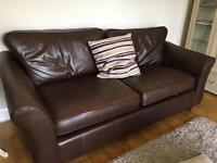 Marks and spencer 'Abbey' brown leather 3 seater sofa