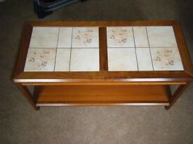 Wood and Tile Coffee Table