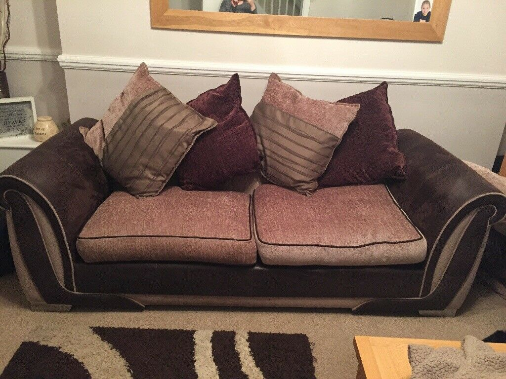 DFS brown sofas 3 seater
