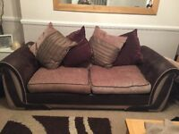 DFS brown sofas 3 seater and 4 seater