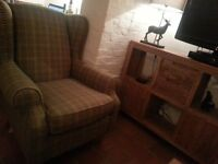 NEXT wing back chair - green tweed