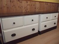 Solid pine 3 drawer chest. Newly Oak stained and chalk painted. Lovely condition. 1x remaining.